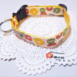 ドロップキャンディ柄のカラフルな首輪(小型~小さめの中型犬用) リード・首輪 小春日和_2