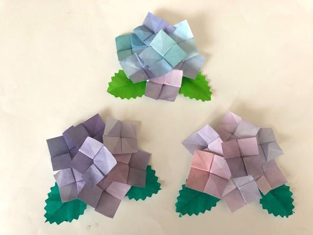 ハンドメイド 折り紙 紫陽花 3個 壁面飾り_1