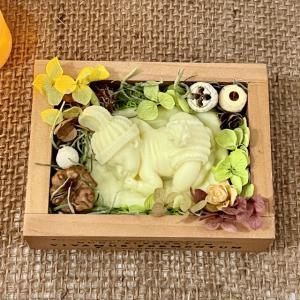 🌱うさぎの帽子眠る💤赤ちゃんBOX&小花リース型アロマワックスサシェ🌱〜ギフトセット〜_1