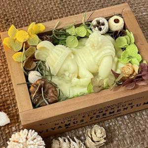 🌱うさぎの帽子眠る💤赤ちゃんBOX&小花リース型アロマワックスサシェ🌱〜ギフトセット〜_3
