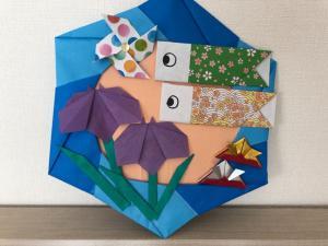 ハンドメイド 折り紙 子供の日リース 壁面飾り 幼稚園_1