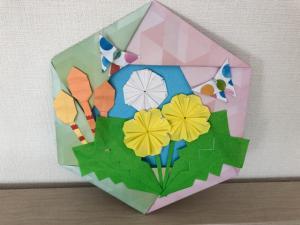 ハンドメイド 折り紙 春リース2  壁面飾り_1