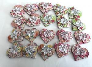 ハンドメイド 折り紙 ハート 20枚 プレゼント飾り 壁面飾り_1