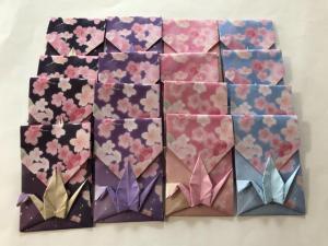 ハンドメイド 桜柄折り紙 鶴折ポチ袋 16枚 お祝い_1