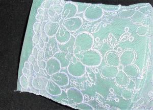 即決◆大サイズ◆白桜サクラ刺繍レース×グリーン緑下地◆ファッションマスク_4