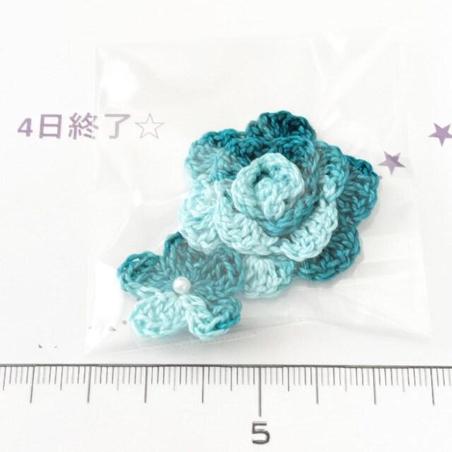 4*ハンドメイド*レース糸 巻き薔薇と小花モチーフ 3_1