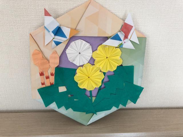 ハンドメイド 折り紙 春リース 壁面飾り 幼稚園_1
