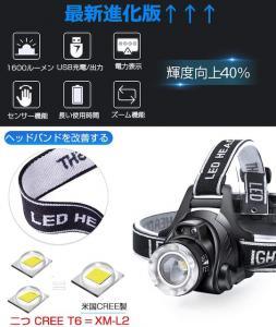 LEDヘッドライト USB 充電式 電気出力 高輝度CREE_2