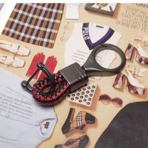 ♪M おしゃれでかっこいい 編み込みレザー スマートキーホルダー/BR_5