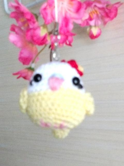 ハイビスカス☆いんこちゃん編みぐるみストラップ_1