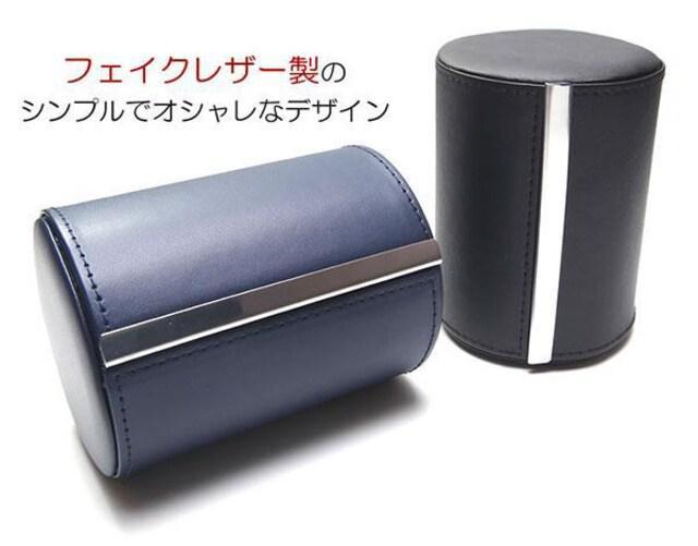 ?M 出張 旅行 持ち運びに フェイクレザー製のネクタイケース/BK_4