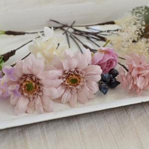 モーヴピンクガーベラ×紫陽花×かすみ草 ヘッドピース 17本_3