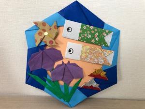 ハンドメイド 折り紙 子供の日リース 壁面飾り_1
