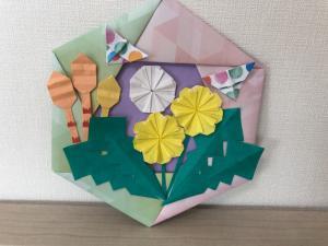 ハンドメイド 折り紙 春リース たんぽぽ つくし  壁面飾り_1