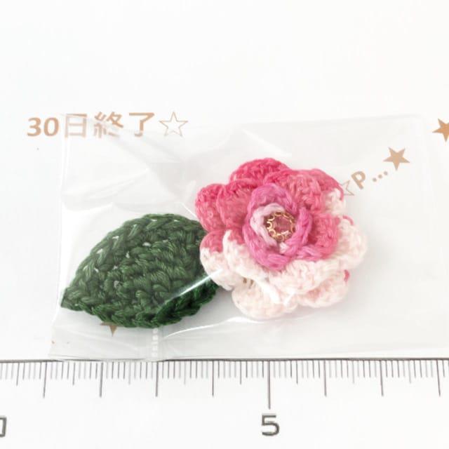 30*ハンドメイド*ガラスストーン巻き薔薇と葉っぱモチーフ 33_1