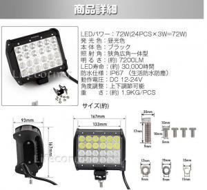作業灯 ワークライト 72W 投光器 サーチライト 12V-24V_8