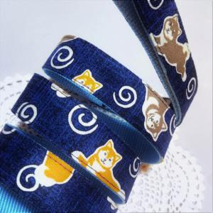 【限定1点】2種の柴犬とうずまき模様 和風な犬用リード(2.5cm幅) リード・首輪 小春日和_3