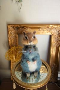 受注制作 小さな小さなシマリス帽子  羊毛フェルト  ペット服・アクセサリー WoolenDogs*Samantha*_1