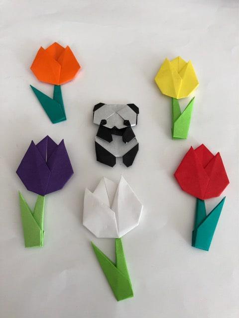 ハンドメイド 折り紙チューリップと子パンダセット 壁面飾り_1