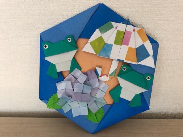 ハンドメイド 折り紙 紫陽花リース 壁面飾り_1