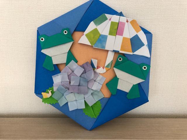 ハンドメイド 折り紙 紫陽花リース 壁面飾り_2