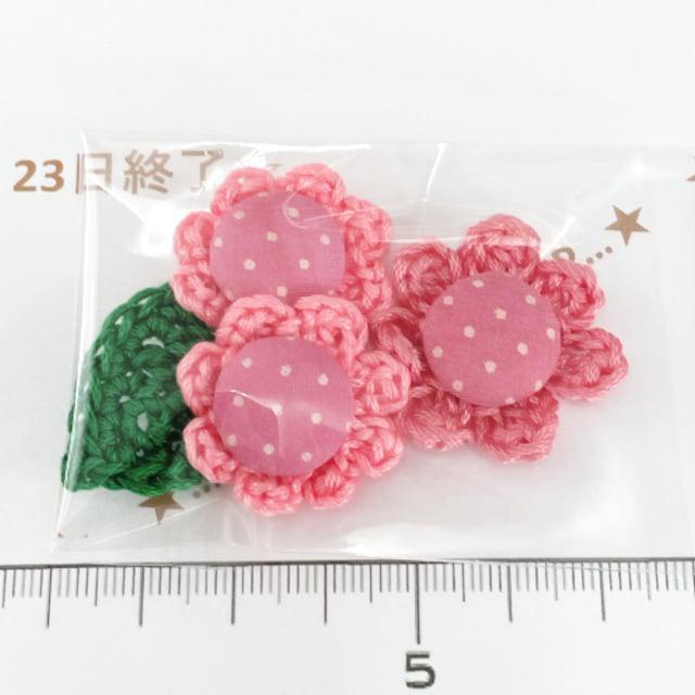 23*ハンドメイド*くるみボタン風お花と葉っぱモチーフ 3_1