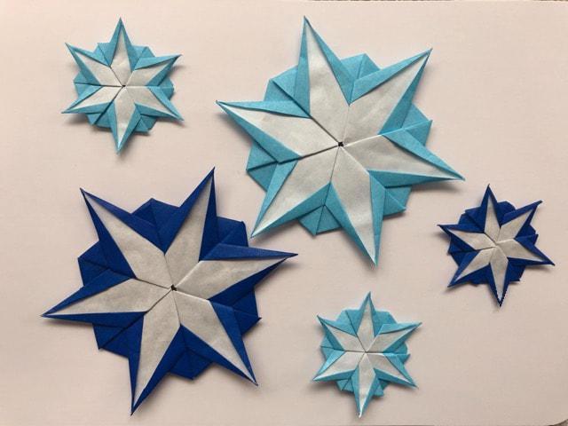ハンドメイド 折り紙 雪の結晶 5枚 壁面飾り_1