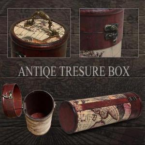 贈り物にもどうぞ レトロなアンティーク地図柄宝箱 筒型_2