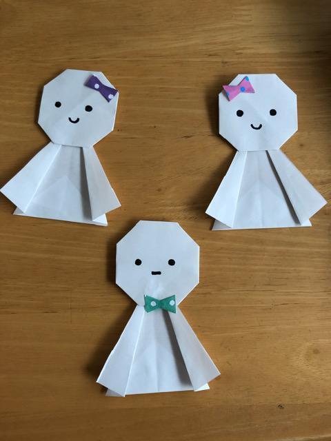 ハンドメイド 折り紙 てるてる坊主 3個 壁面飾り_1